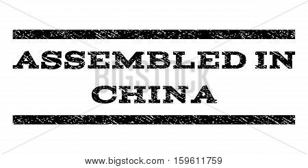 Assembled In China watermark stamp. Text caption between horizontal parallel lines with grunge design style. Rubber seal black stamp with dust texture. Vector ink imprint on a white background.