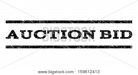 Auction Bid watermark stamp. Text caption between horizontal parallel lines with grunge design style. Rubber seal black stamp with dust texture. Vector ink imprint on a white background.