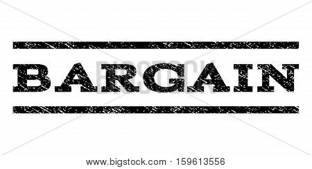 Bargain watermark stamp. Text caption between horizontal parallel lines with grunge design style. Rubber seal black stamp with unclean texture. Vector ink imprint on a white background.