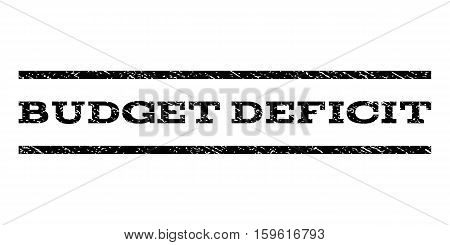 Budget Deficit watermark stamp. Text caption between horizontal parallel lines with grunge design style. Rubber seal black stamp with dirty texture. Vector ink imprint on a white background.