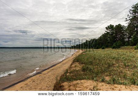 a roadside beach at Lake Superior in Upper Michigan