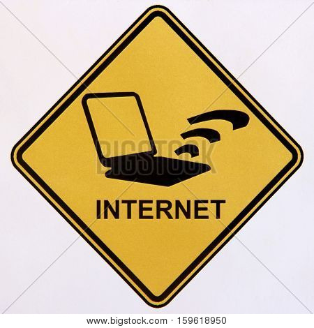 A black and yellow sign indicating the presence of the internet.