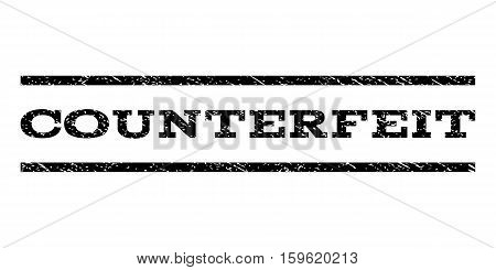 Counterfeit watermark stamp. Text caption between horizontal parallel lines with grunge design style. Rubber seal black stamp with dirty texture. Vector ink imprint on a white background.