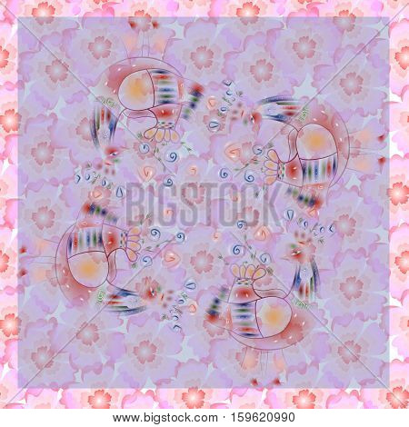 Lovely tablecloth. Bandana print with fairy birds and flowers.