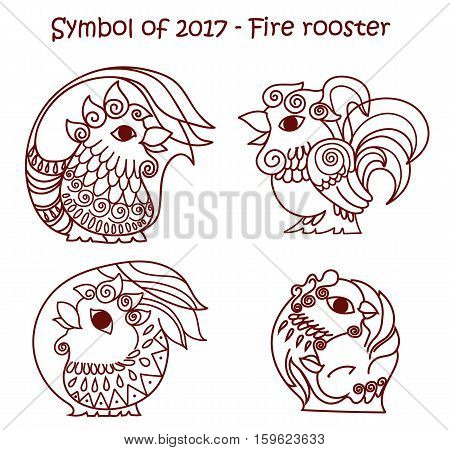 Vector set of symbols 2017 - Red fire cock. Isolated contour roosters for new year design on white background.
