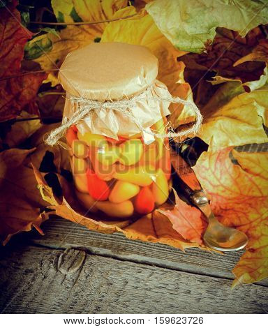 Autumn Concept. Preserved Food In Glass Jar