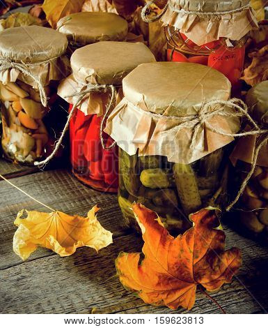 Autumn Concept. Preserved Food In Glass Jars