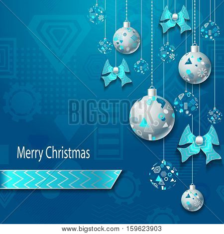 Merry Christmas or New Year background with Christmas balls and bows  in silver blue on blue and geometric seamless pattern. Creative Post Card for winter holiday. Vector Stock  Illustration.