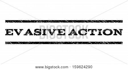 Evasive Action watermark stamp. Text caption between horizontal parallel lines with grunge design style. Rubber seal black stamp with scratched texture. Vector ink imprint on a white background.