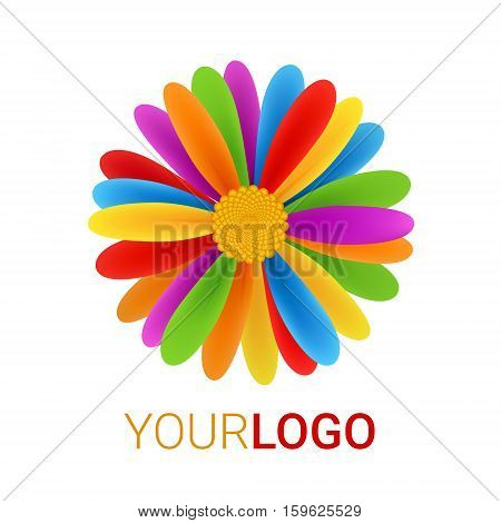 Rainbow Flower logo. Abstract vector illustration isolated on a white background. Colorful icon. Multicultural world tolerance concept. Modern creative design