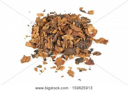 A pile of tobacco isolated on a white background