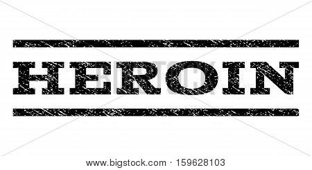 Heroin watermark stamp. Text tag between horizontal parallel lines with grunge design style. Rubber seal black stamp with unclean texture. Vector ink imprint on a white background.