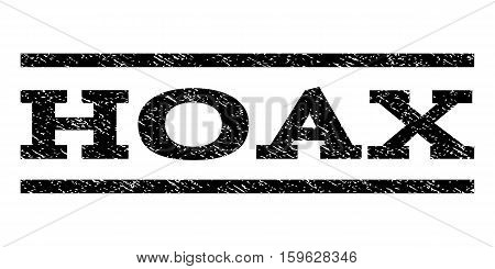Hoax watermark stamp. Text tag between horizontal parallel lines with grunge design style. Rubber seal black stamp with dirty texture. Vector ink imprint on a white background.