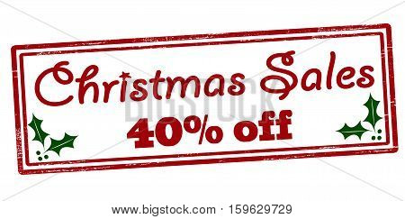 Stamp with text Christmas sales forty percent off inside vector illustration