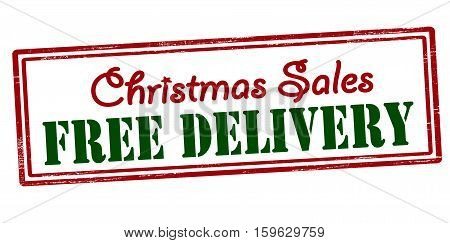 Stamp with text Christmas sales free delivery inside vector illustration
