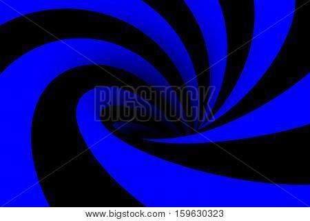 black hole in blue color 3D illustration