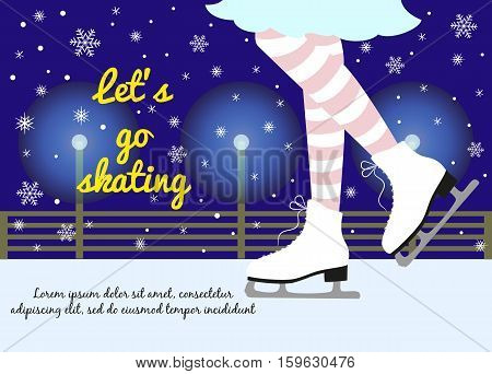 Vector background with feet in figure skates on the winter background with text