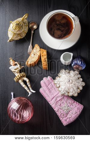 Traditional Italian Food. Christmas Toys. Cantuccini Cookies Wit