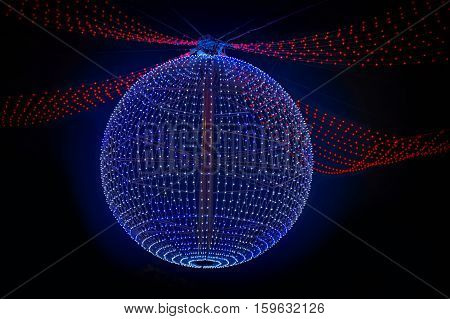 new year lighting ball hanging in the night