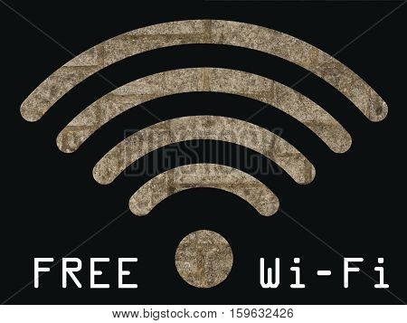 Free WIFI sign with old stonework wall visible through graphics on black background