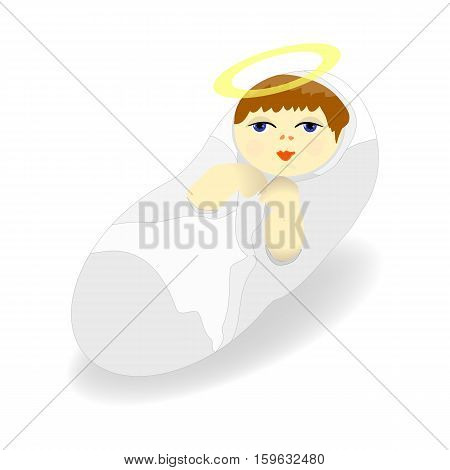 Baby Jesus Christ figure Icon Symbol Design. Vector Christmas illustration isolated on white background