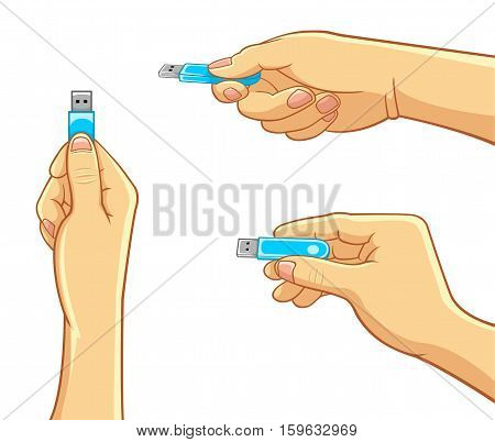 Hand Holding a USB Flash Drive. Best for Computer, Technology, Electronics Concept.