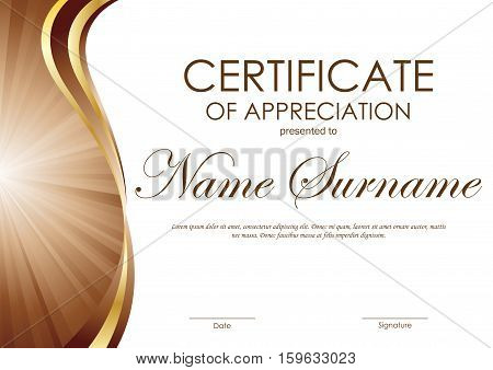 Certificate of appreciation template with brown and gold wavy curved swirl background. Vector illustration
