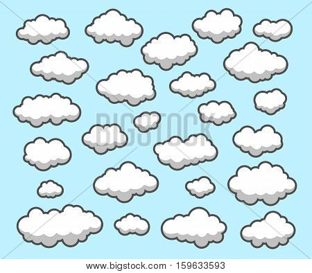 Clouds collection in different variations on Blue Background.