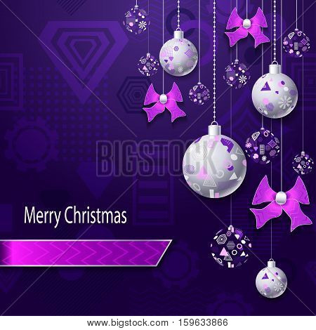 Merry Christmas or New Year background with Christmas balls and bows in silver pink on lilac violet and geometric seamless pattern. Creative Post Card for winter holiday. Vector Stock  Illustration.