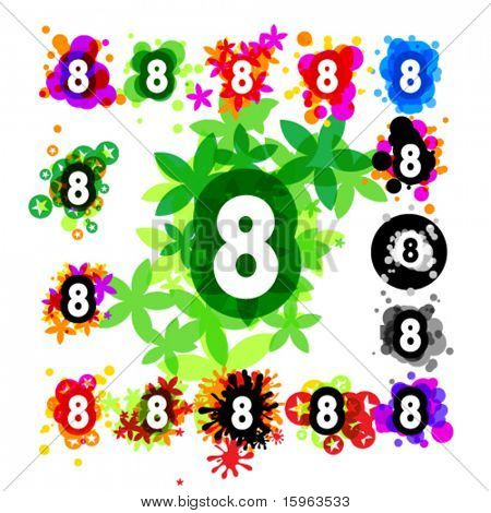 Colorful set of a funny alphabet number 8