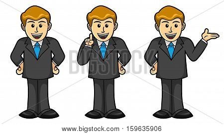 Illustration of Cute Cartoon Male Businessman in different poses. Best for Business, Cartoon concept.