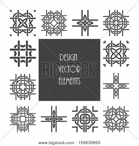 Celtic knot ornament design set. Abstract vector pattern elements.