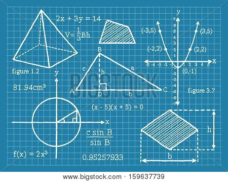 Vector Illustration of elements for Mathematics, Algebra, Geometry, Trigonometry.