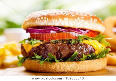 hamburger with vegetables and fries on wooden table
