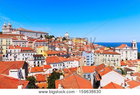 Lisbon cityscape view of the Alfama downtown Portugal