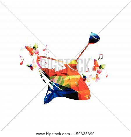 Colorful peg top vector illustration. Spinning top with butterflies isolated. Children's toy background