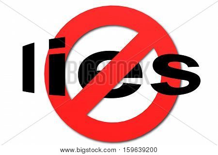 Stop Lies Sign In Red
