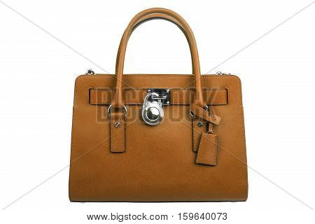 Brown leather handbag isolated on white background