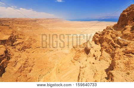 View from fortress Masada on desert and dead sea Israel.