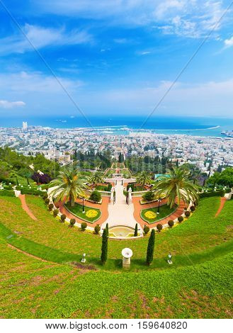View of Bahai Gardens in Haifa Israel, summer day