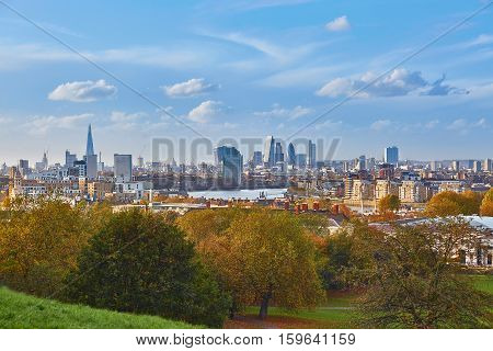 Panoramic View Of London Cityscape Seen From Greenwich