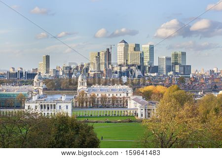 View Of Canary Warf From Greenwich In London