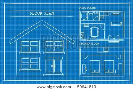Vector Illustration of a house design plan in blueprint. Best for Architecture, Business, and Real Estate Concept.