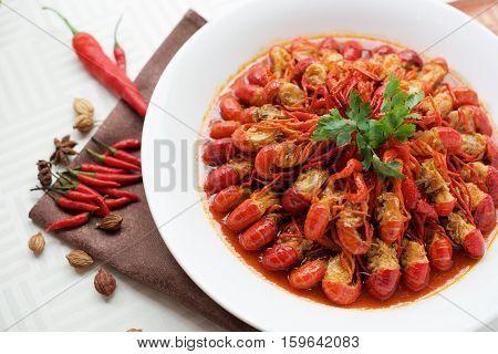 Spicy Chinese Crayfish Dish