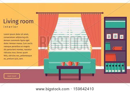 Banner of living room interior with window and sofa in flat design. Background. Vector illustration.