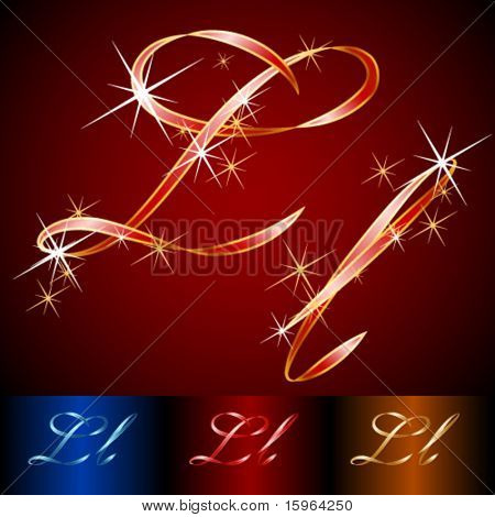 Ribbon styled vector gala alphabet. Applicable for dark and light background. Letter l