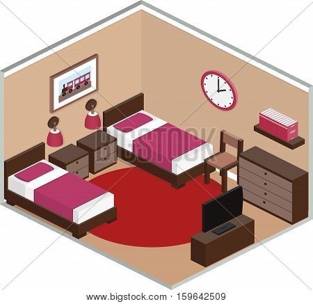 Modern bedroom design with furniture including two beds and TV. Interior in isometric style. Vector 3D illustration.