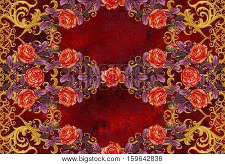 Pattern seamless floral border.Garland of flowers. Beautiful bright orange rose buds red leaves rough cloth canvas. Golden curls shiny tracery weave. Vintage old background.