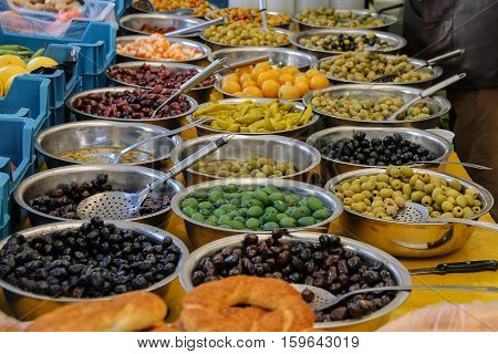 Pickled vegetables on the counter of street market