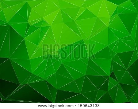 Abstract geometric pattern composed of triangular polygons. Polygon background. Triangulated wallpaper. Triangulated green background. Vector illustration.